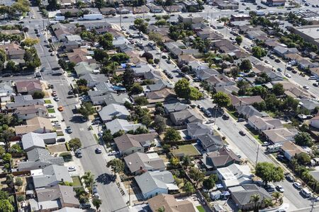 Aerial view of neighborhood streets and single family homes near Oakland California.