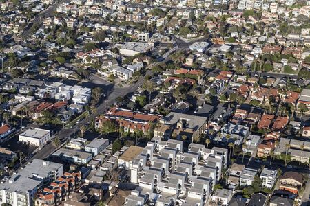 Aerial view of apartments, condos and houses in the South Bay area of Los Angeles County California.