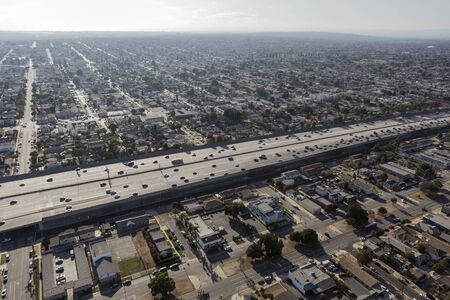 Aerial view of the harbor 110 freeway passing through South Los Angeles in Southern California 스톡 콘텐츠