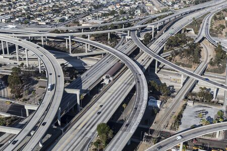 Aerial view of the 110 and 105 freeway interchange ramps near downtown Los Angeles in Southern California. Stock Photo