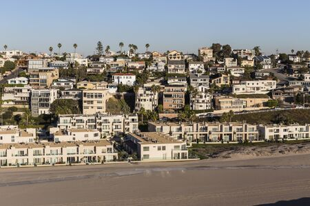 Aerial of ocean view beach housing in the Playa Vista neighborhood of Los Angeles, California.