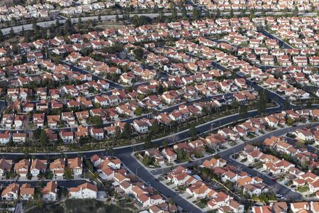 Aerial view of suburban San Fernando Valley housing in the Porter Ranch area of Los Angeles, California.