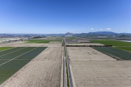 Aerial view of farm fields along East 5th Street near Camarillo in scenic Ventura County, California.
