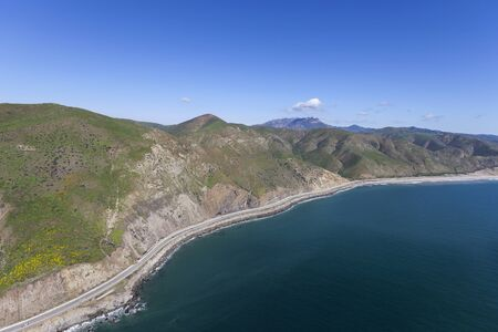 Aerial view of Pacific Coast Highway near Sycamore Cove north of Malibu in scenic Southern California.
