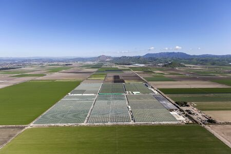 Aerial view of farm fields and agricultural facilities near Camarillo in Ventura County, California.
