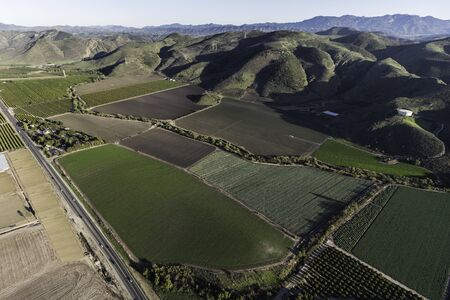 Aerial view of Santa Rosa Valley farm fields and citrus groves in scenic Ventura County, California. Stok Fotoğraf