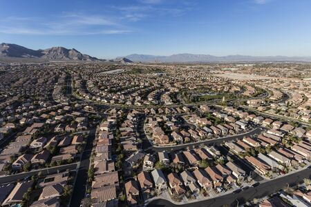 Aerial view of Summerlin streets and homes in suburban Las Vegas, Nevada.
