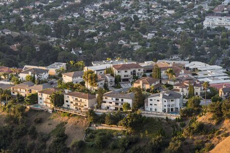 Early morning view of hilltop homes near Los Angeles and Burbank in Glendale, California.