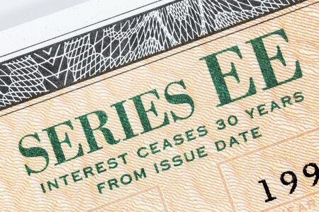 Macro close up detail of Series EE US Savings Bond.