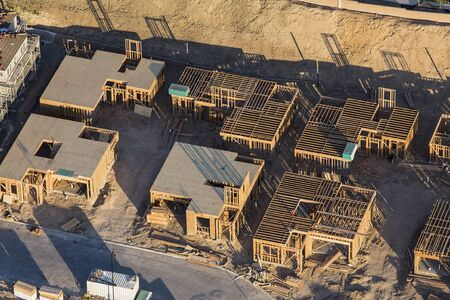 Aerial view of new neighborhood construction in the San Fernando Valley area Los Angeles, California.