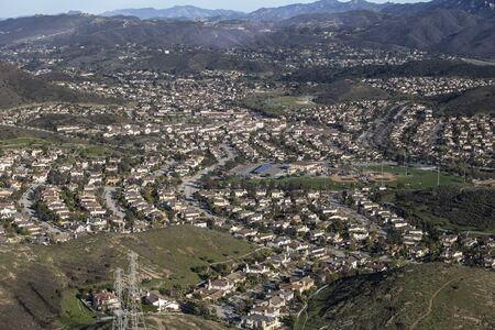 Aerial view of suburban valley homes near Los Angeles in the Newbury Park neighborhood of Thousand Oaks, California.