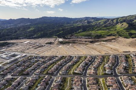 Aerial view of expanding suburban housing developments in Los Angeles, California.