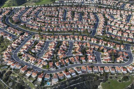 Aerial view of San Fernando Valley suburban housing in the Porter Ranch community of Los Angeles, California.