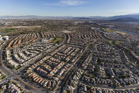 Aerial view of the suburban Summerlin streets and homes in Las Vegas, Nevada.