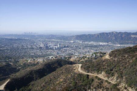 Hilltop view of downtown Glendale and Los Angeles from Verdugo Mountain in Southern California.