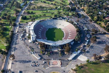 Pasadena, California, USA - April 12, 2017:  Aerial view of the historic Rose Bowl Stadium near Los Angeles. Publikacyjne