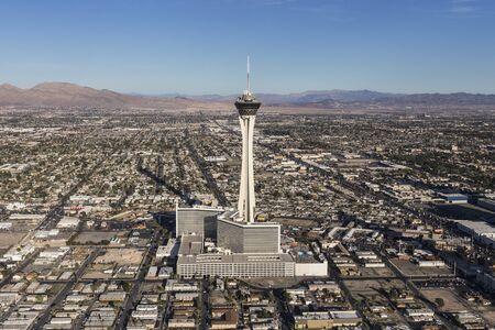 Aerial view of Stratosphere Casino Resort Tower on March 13, 2017 in Las Vegas, Nevada, USA.