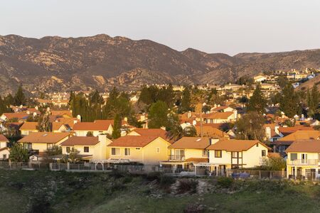 Early morning dawn view of homes in the San Fernando Valley area of north Los Angeles, California.
