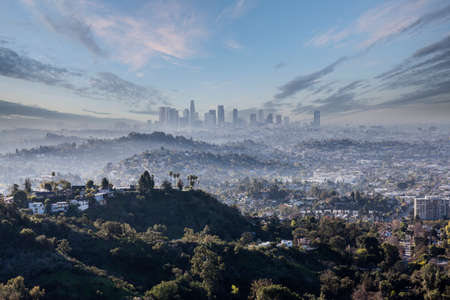 Misty cloudy morning view of downtown Los Angeles California