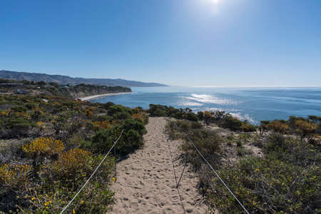 Morning ocean view hiking trail at Point Dume State Park in scenic Malibu, California, USA.