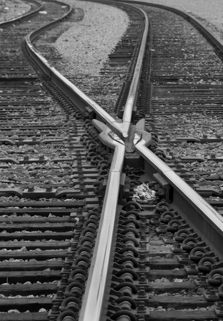 railroad transport: Crisscrossed Railroad Tracks - Black & White Stock Photo