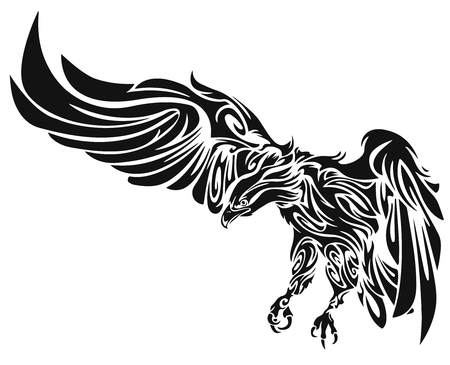 tattoo drawings: Swooping Tattoo Eagle Illustration