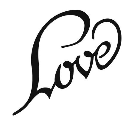 inscription: Love, hand lettering, calligraphy inscription Illustration