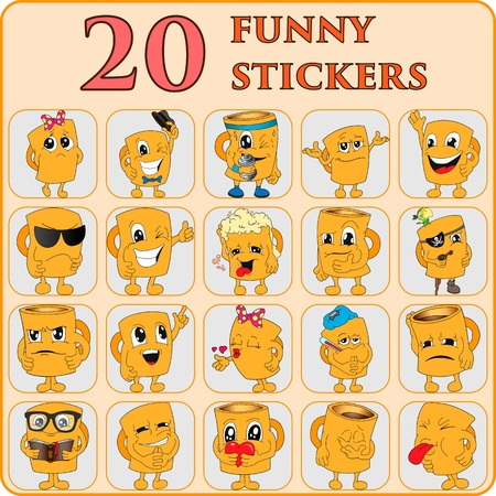 emote: Set of 20 funny stickers, cup, mug,