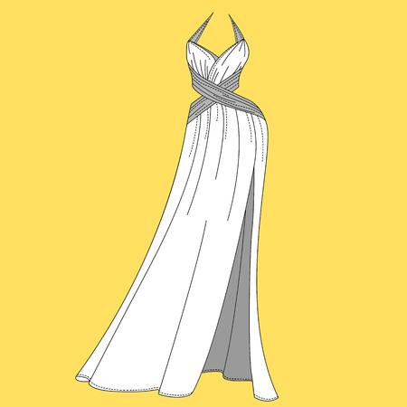 dress size: Women dress design. Fashion Flat templates Sketches Illustration