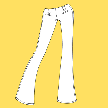 hem: Jeans, trousers, pants. Fashion Illustration, CAD, Technical Drawing, Specification Drawing