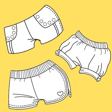 fashion design: Womens shorts. Women dress design. Fashion Illustration. Illustration