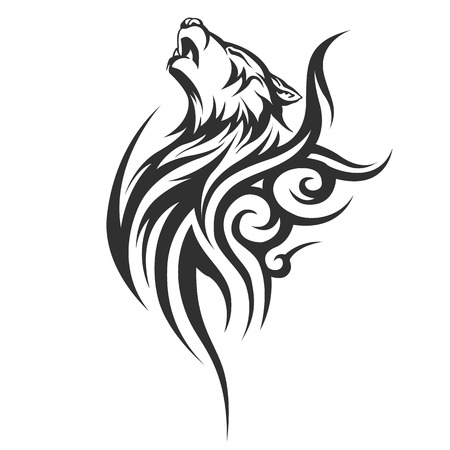 black and white wolf: tribal tattoo wolf designs