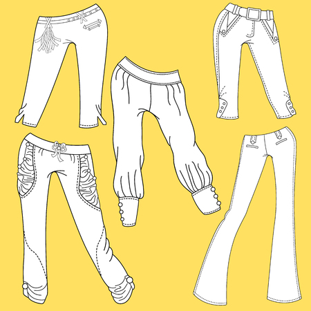 trouser legs: Flat template sketches of different denim and jeans clothes - Set of denim clothes