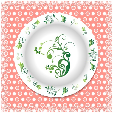 white plate: white plate with floral ornaments