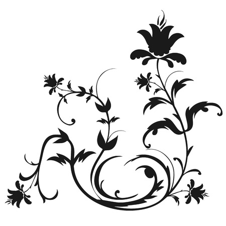 black swirls: Decorative floral ornament