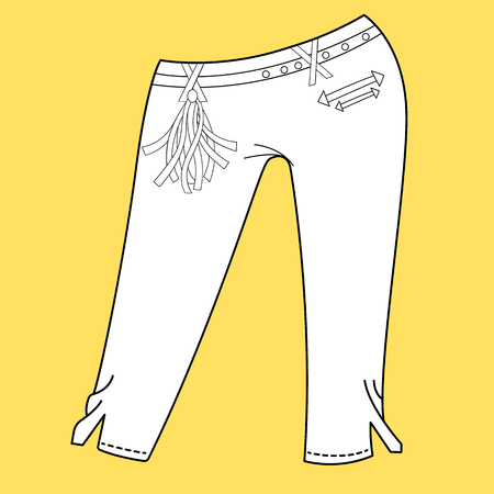 specification: Jeans, trousers pants. Fashion Illustration. CAD. Technical Drawing. Specification Drawing