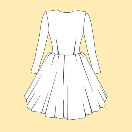 fashion design: Women dress design. Fashion Flat templates Sketches Stock Photo
