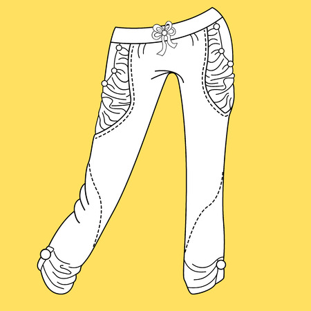 cad: Jeans, trousers pants. Fashion Illustration. CAD. Technical Drawing. Specification Drawing
