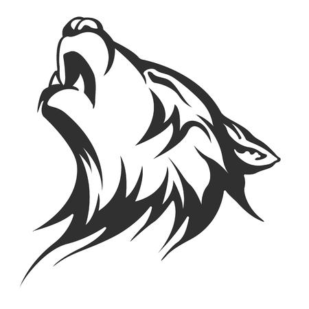intimidating: wolf Tattoo illustration Stock Photo
