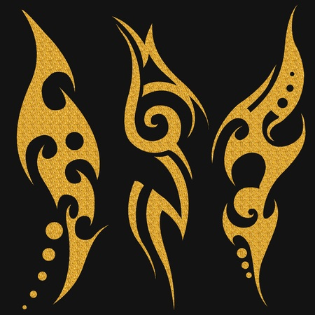 crimp: Gold tribal tattoo on a dark background. Gold illustration without transparency.