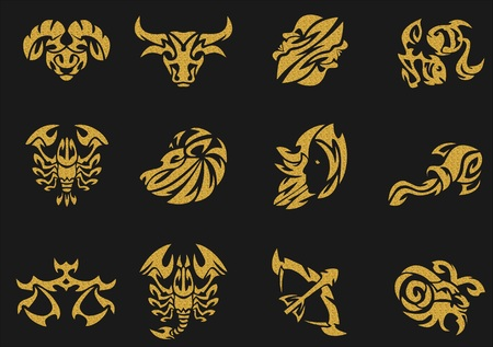 tribal aquarius: Gold zodiac signs sets