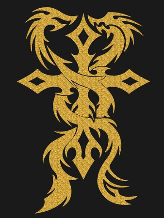 gold cross: Gold cross and dragons illustration