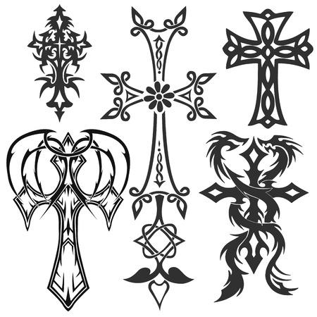 kruzifix: Kreuze Kruzifix. religiöse Design-Elemente