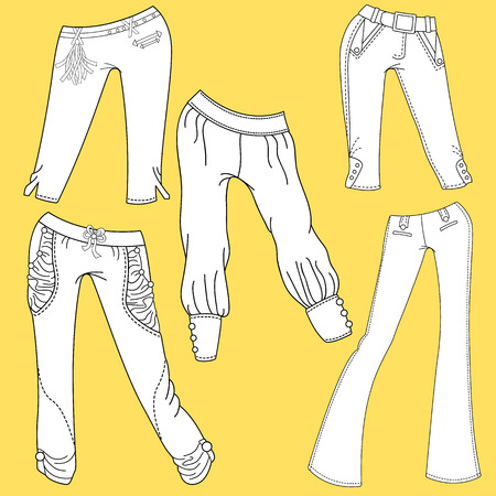 trouser: Flat template sketches of different denim and jeans clothes. Set of denim clothes Stock Photo
