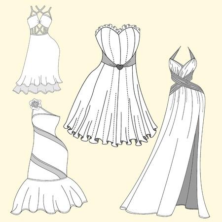 evening dresses: Clothing design. Womens evening dresses