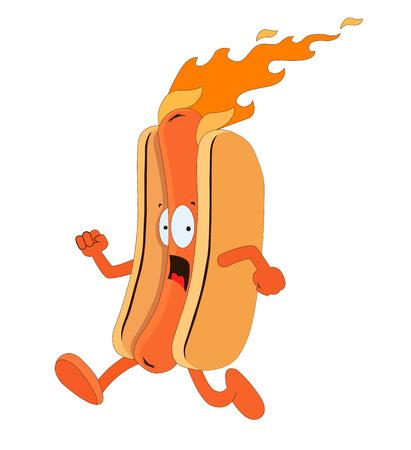 hot dog: Funny hot dog. illustration Stock Photo