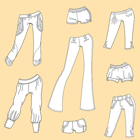 summer clothes: The design of summer clothes. Womens summer trousers and shorts