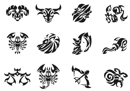 tribal aquarius: Zodiac signs sets illustration