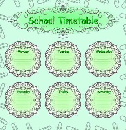 school schedule: Weekly school timetable. Schedule. Back to school. Illustration