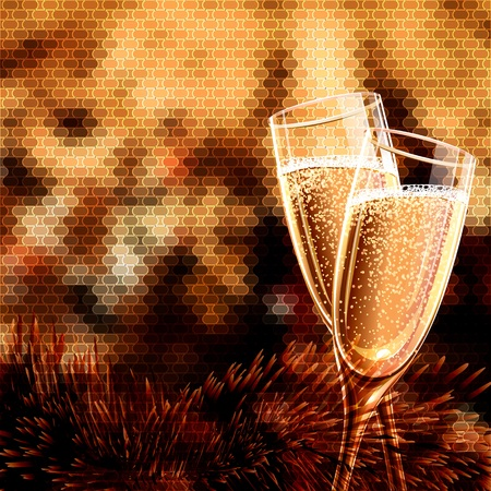 champagne celebration: Happy New Year Card with glasses of champagne. Holiday golden background and glasses of champagne. Illustration